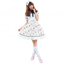 Knee-length Dress with Butterfly Pattern Floral Lolita Dress