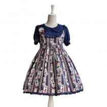 Lolita Fashion Keen-length Rabbit And Poker Pattern High Waist Short Sleeve Cotton Sweet Lolita Dres