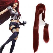 Rulercosplay League Of Legends Katarina Red Heat Resistant Fiber Anime Cosplay Anime Wigs Wholesaler