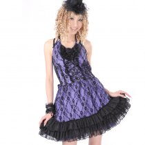 Polyester Shoulder-traps Dress Knee-length Gothic Lolita Princess Lace Dress