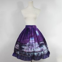 Customized Vatican Castle Pattern Purple Lolita Chiffon Skirt