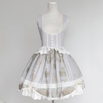 Rulercosplay Customized Palace Printing Chiffon And Lace Grey Lolita Vest Dress Anime Cosplay Costum