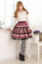 Customized Violet Knee-length Sweet Lolita Skirt with Prints and Lace Lolita Fashion