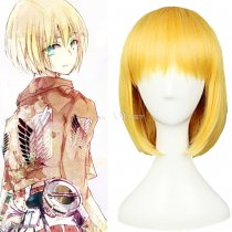 Rulercosplay Heat Resistant Fiber Inspired By Attack On Titan Armin Arlert Short Gloden Anime Wigs W