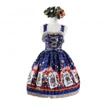 Lolita Fashion Cotton Lovely Cat Pattern Overalls Dress with Lace Sweet Lolita Dress