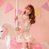 Rulercosplay Sweet Winter Lolita Fashion Pink Lace Velvet Dress Anime Cosplay Costumes Wholesaler Re