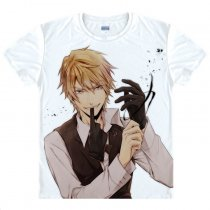 Durarara Animation Products Shizuo Heiwajima Orihara Izaya Image Short Sleeves T-shirts  White Cotto