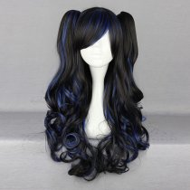 Rulercosplay Gothic Lolita Heat Resistant Fiber 70cm Long Curly Black And Blue Lolita Wigs Wholesale
