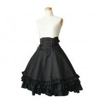 Black Cotton High-waisted Lace-up Knee-length Gothic Lolita Ruffles Skirt
