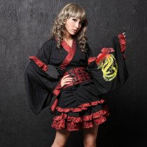 Cotton and Polyamide Falbala Adornment Kimono Dress Knee-length Cosplay Gothic Lolita Dress