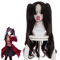 Rulercosplay Fate/stay night FGO Tohsaka Rin Long Curly Dark Brown Double Ponytail Anime Cosplay Wig