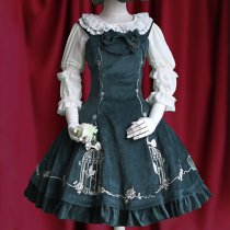 Lolita Fashion Cotton King and Nightingale Pattern Sweet Lolita Dress Anime Cosplay Custome.