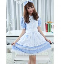 Knee-length Dress with Headband Sweet Blue Princess Lolita Dress