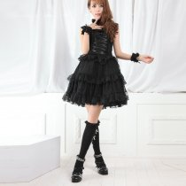 Knee-length Dress with Flouncing Polyester Lolita Dress
