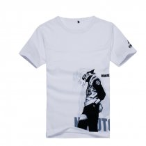 Naruto Hatake Kakashi Pattern White Cotton Cartoon Short Sleeves T-shirt