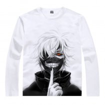 White Cotton Tokyo Ghouls Ken Kaneki Print Long Sleeves T-shirt