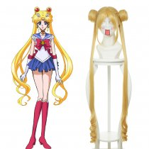Rulercosplay Heat Resistant Fiber Inspired By Sailor Moon Usagi Tsukino Long Curly Yellow Anime Wigs