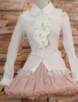 White Chiffon Medium Sleeve Ruffled Collar Slim Pricesdd Sweet Lolita Blouses