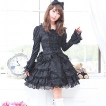 Knee-length Dress with Long Sleeve Princess Nylon Lace Lolita Dress