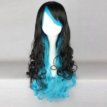 Rulercosplay Long Curly Black With Blue Lolita Fashion Wigs Wholesaler Resaler