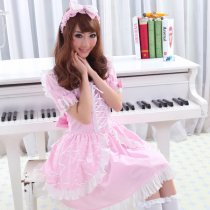Polyamide Knee-length  Dress with Headwear  and Bowknots Short Sleeve Sweet Lolita Dress