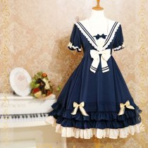 Lolita Fashion Navy Style Chiffon Big Bows Sweet Lolita Dress Anime Cosplay Custome.
