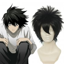 Rulercosplay Heat Resistant Fiber Inspired By Death Note L.Lawliet Short Black Anime Wigs Wholesaler