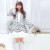Polyamide Knee-length  Dress with Lace Trumpet Sleeve Sweet Lolita Dress