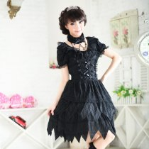 Polyamide Knee-length  Dress with Lace and Neck Collar Short Sleeve Gothic Lolita Dress