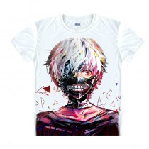 Tokyo Ghoul Fashion Animation White Smooth Decron T-shirt 011 More Patterns Anime Cosplay Custome.