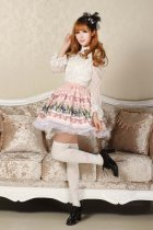 Customized Pleated Pink Knee-length Sweet Lolita Skirt with Prints Lolita Fashion