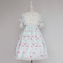 Rulercosplay Customized Cute Cake Pattern Sweet Lolita Chiffon And Lace Dress 3 Colors Anime Cosplay