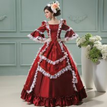 Medium Sleeves Floor-length Burgundy Cotton Classic Lolita Dress