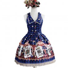 Lolita Fashion Keen-length Poker Pattern Cotton Overalls Dress Sweet Lolita Dress