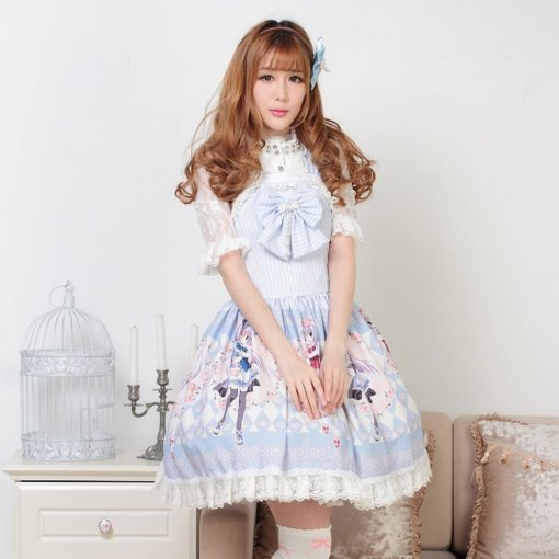 Sleeveless Knee-length Blue Bow Princess Slip Dress Sweet Lolita Dress Customize Anime Cosplay Custo