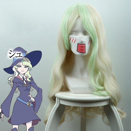 Rulercosplay Little Witch Academia Diana Cavendish Long Curly Light Yellow And Light Green Ombre Ani