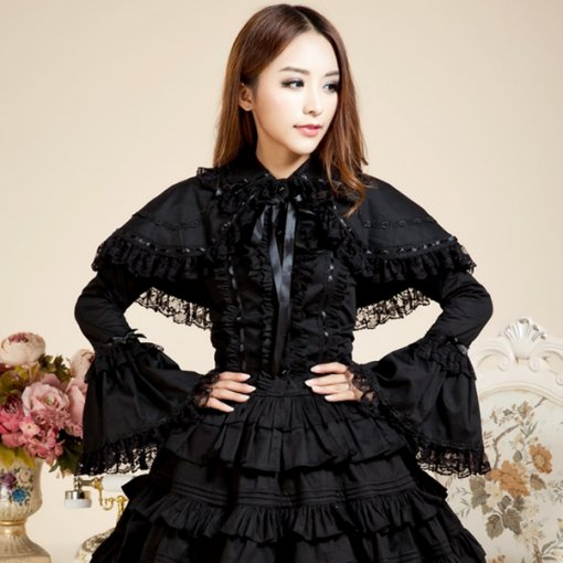 Retro Cotton Flare Long Sleeves Doll Collar Princess Gothic Lace Blouse with Bowknots