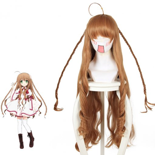 Rulercosplay Rewrite Kotori Kanbe Super Long Brown Curly Anime Cosplay Wigs Wholesaler Resaler
