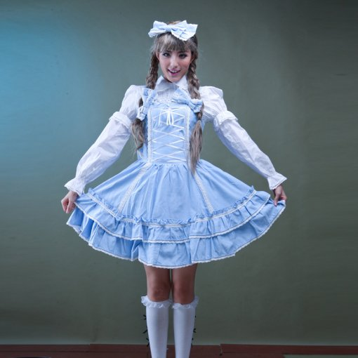 Polyamide Knee-length Dress with Lace and Bowknots Long Sleeve Sweet Lolita Dress