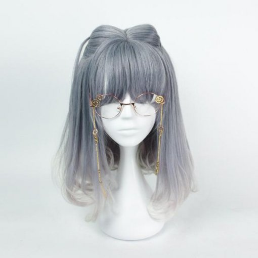 Rulercosplay Sweet Harajuku Original Blue And Grey BoBo Mixed Ombre Lolita Wigs