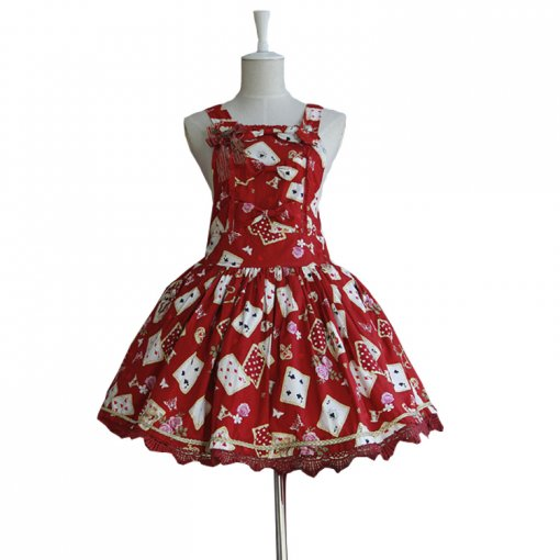 Lolita Fashion Cotton Poker Pattern Dress With Bows Sweet Lolita Dress Anime Cosplay Custome.