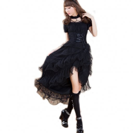 Knee-length Dress With Short Sleeve Idyllic Gothic Princess Nylon Lolita Dress
