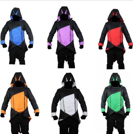 Rulercosplay Assassin's Creed Connor Kenway Cosplay Hoodie Black Version 6 Colors With Free 2 Rings