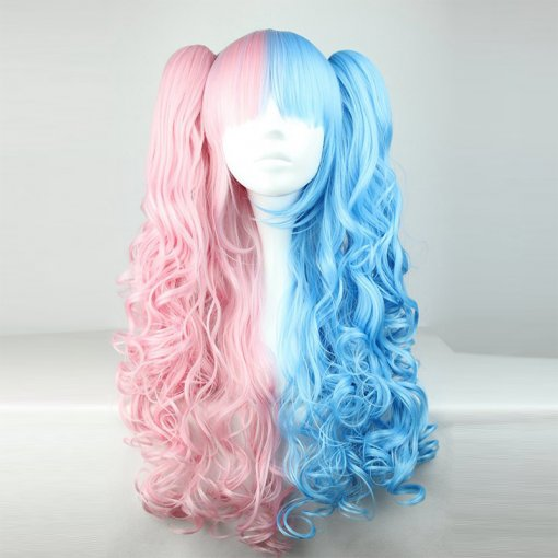 Rulercosplay Sweet Lolita Heat Resistant Fiber 70cm Long Pink And Blue Mixed Color Lolita Wigs Whole