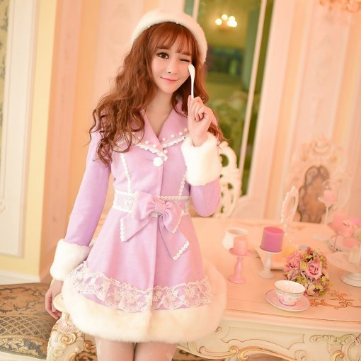 Sweet Winter Bowknot Lolita Fashion Purple Woolen Cloth Coat