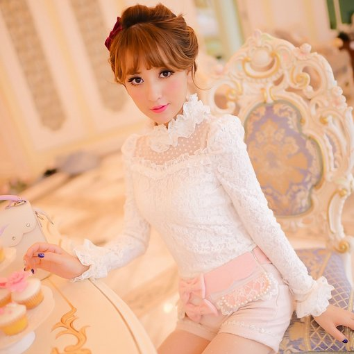 Lovely White Lace Lolita Fashion Blouse