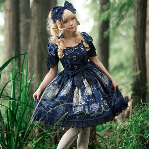 Rulercosplay Sweet Short Sleeve Medium Length Cotton and Lace Sweet Lolita Dress