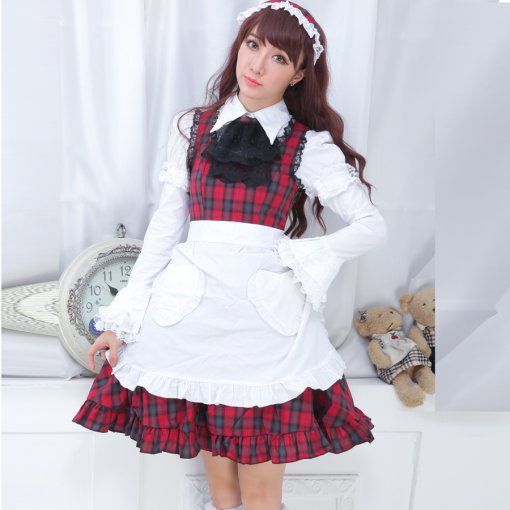 Polyamide Falbala Adornment Knee-length Dress with Apron Sweet Lolita Dress