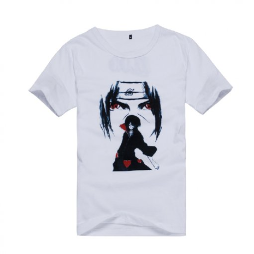 Naruto Uchiha Itachi Pattern White Cotton Cartoon Short Sleeves T-shirt