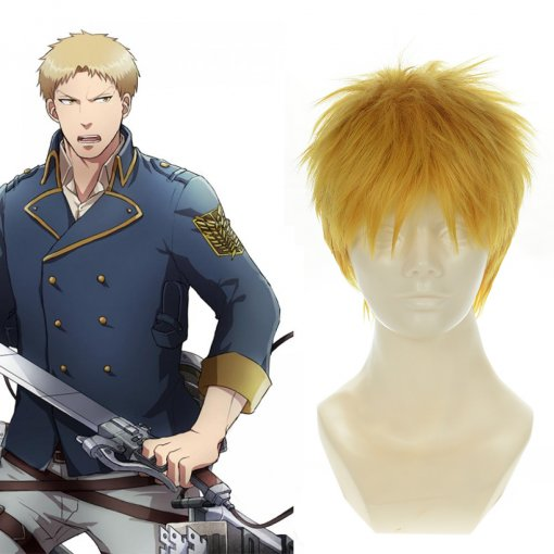Rulercosplay Heat Resistant Fiber Inspired By Attack On Titan Reiner Braun Short Golden Anime Wigs W